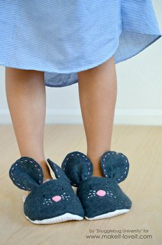 DIY Mouse Slippers...make your child these simple mouse slippers with this easy tutorial!|via Make It and Love It