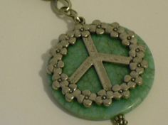Turquoise Peace Sign Necklace by CountryGalPicker on Etsy, $10.00