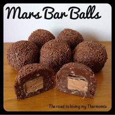 The road to loving my Thermomix: Mars Bar Balls - maybe with another chocolate bar or none at all in the middle. Thermomix Desserts, Köstliche Desserts, Delicious Desserts, Dessert Recipes, Yummy Food, Yummy Yummy, Bar Recipes, Tasty, Cheesecake Bars
