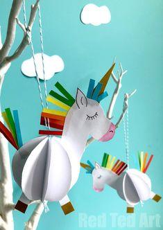 Egyszerű 3D-s papír Unicorn Decoration - A gyerekek számára készült Awww papír kézműves annyira szórakoztató és könnyű.  Mindössze az OH SO CUTE 3D Unicorn Baubles-re van szüksége, egy A4-es papírlap és néhány színes papírdarab (vagy néhány toll!).  Alternatívaként használhatjuk praktikus, ingyenes printables - van 3 változat - sablonok, színes vagy CUT és ASSEMBLE.  Csak annyira CUTE!  Szerelem.