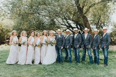 Bridal Party Photos - Bridesmaids and Groomsmen - Cowboy Wedding - Country Weddi. - Bridal Party Photos – Bridesmaids and Groomsmen – Cowboy Wedding – Country Wedding – Cowboy - Country Wedding Groomsmen, Country Wedding Photos, Country Wedding Dresses, Bridesmaids And Groomsmen, Cowboy Groomsmen, Country Weddings, Country Groomsmen Attire, Groomsmen In Jeans, Wedding Suits