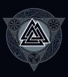 """Valknut (em nórdico antigo, Valr """"guerreiros mortos"""" e Knut """"nó"""") é um símbolo religioso pertencente ao paganismo Nórdico e Germânico que consiste em três triângulos entrelaçados, também chamado de """"Nó dos mortos"""" ou """"Coração de Hrungnir"""" por aparecer em um mito ligado ao deus Þórr, com a morte do gigante Hrungnir."""