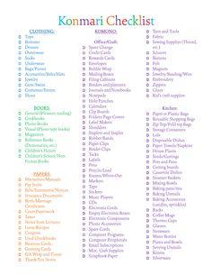 Konmari Checklist
