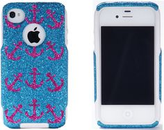 Otterbox iPhone 4 / 4S Commuter Case Raspberry Mini Anchors Peacock Blue Glitter iPhone 4S Case - with pink or blue soft part instead of white