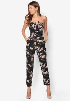 Bandeau Floral Print Jumpsuit from Miss Selfridge in black_1