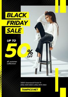 Black Friday Sale with Woman in Monochrome Clothes — Create a Design What Is Black Friday, Black Friday Ads, Banner Design Inspiration, Promotional Design, Snitch, Sale Promotion, Sale Poster, Graphic Design Posters, Ad Design