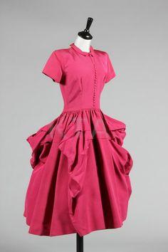 A Ceil Chapman dark raspberry faille dinner dress, early 1950's.
