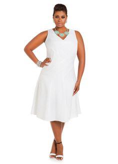 White plus size linen dress