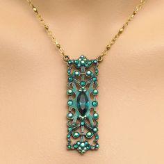 Anne Koplik Designs Emerald Green Rectangle Pendant Necklace