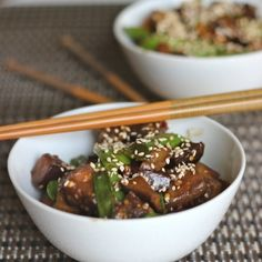Sweet and savory eggplant stir fry with crunchy green snow peas