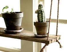 Suspended Plant Shelf  Barn wood hanging shelf by GrindstoneDesign, $37.00