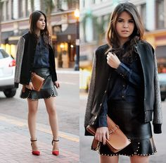 Varsity Jacket, Denim Shirt, Rivet Skirt, Clutch, Colorblock Heels | Downtown (by Adriana Gastélum) | LOOKBOOK.nu