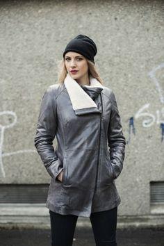 """""""Lenka"""" Long padded leather jacket with Sheepskin details. AW-2013/14"""