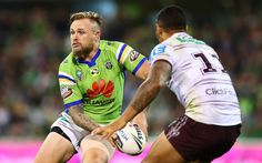 Blake Austin of the Raiders in action during the round eight NRL match between the Canberra Raiders and the Manly Sea Eagles at GIO Stadium on April 21, 2017 in Canberra, Australia.