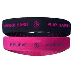 Work Hard/Play Hard and Believe/Achieve Headbands - Pack of 2