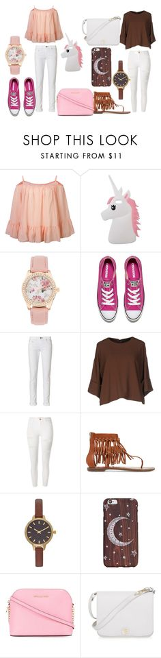 """Pink and Brown"" by bunnysupergirl ❤ liked on Polyvore featuring Miss Selfridge, Converse, rag & bone, Cristina Gavioli, River Island, Sam Edelman, MICHAEL Michael Kors and Furla"