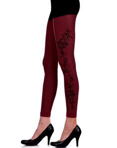 Wijnrode Flowerside legging van Zohara. Art on tights!