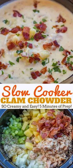 Slow Cooker Clam Chowder is so easy to make with a deliciously creamy, briny flavor mixed with smoky crispy bits of bacon and rich buttery yukon potatoes. #slowcookerclamchowder