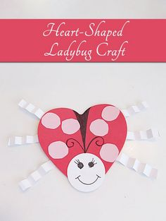 Valentine's Day Craft: Heart Shaped Ladybug Great for Kids #kids #valentine's day #craft www.2littledollzdeals.com