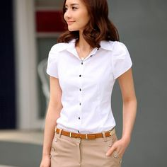 Shirt Ol Blouse Women Sleeve Long Tops Button Casual Office Ladies For – stylebacha Office Fashion Women, Work Fashion, Women's Fashion, Spring Outfits Women, Casual Skirt Outfits, Casual Shirt, Long Tops, Women's Tops, Ladies Dress Design