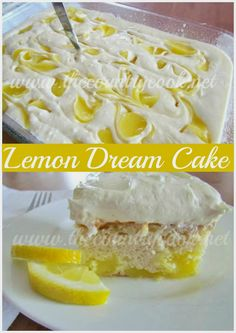 Lemon Dream Cake - This was a HUGE hit, my coworkers gobbled it up and even went back for more. SUPER easy to make. Just French vanilla cake mix, lemon pie filling, cool whip, lemon icing. The lemon flavor is light, not super heavy. Whipped it up the night before, super easy cake to make!