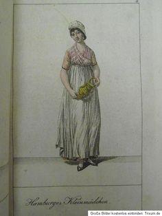 German housemaid, from Hamburg. 1800s Clothing, Antique Clothing, Regency Dress, Regency Era, Working Woman, Working Girls, Les Miserables, Farm Women, Napoleon