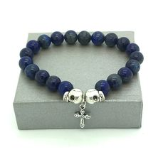 bracelet homme perles LAPIS LAZULI , croix et crâne très belle qualité : Bijoux…