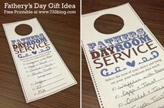 Fathers Day printables make celebrating Dad's quick and easy! These Father's Day printables include Father Day cards, homemade gifts, party decor, and printable gift coupons. Father's Day Printable, Printable Crafts, Free Printables, Diy Father's Day Gifts, Father's Day Diy, Man Gifts, Father's Day Breakfast, Mother And Father, Father Sday