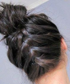 See y'all! Bun w a braid! Cute hair for homecoming! Now if I can find some sweats w bedazzlement! ;)