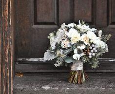 White Winter wedding bouquet.