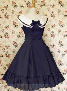 Deep Blue Buttons Bow Sleeveless Lolita Dress Free Shipping - wholesale Lolita Dresses - wholesale Lolita Clothing - CosplayGate.com