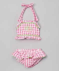 Look at this Smocked or Not Pink & White Gingham Monogram Bikini - Infant, Toddler & Girls on #zulily today!
