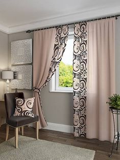 "Comprar un juego de cortinas ""Hendy (beige). con entrega en Moscú y Rusia - tienda de internet ""TomDom"" Plain Curtains, Home Curtains, Curtains With Blinds, Patterned Curtains, Curtain Styles, Curtain Designs, Curtain Ideas, Rideaux Design, Fabric Decor"