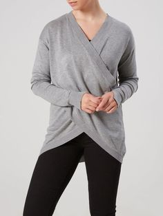 KNITTED NURSING BLOUSE, LONG SLEEVED, Medium Grey Melange