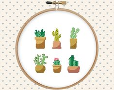 Cactus easy cross stitch pattern cute cross by GentleFeather