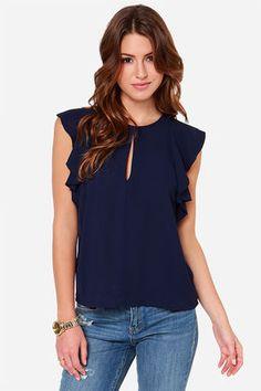 #Cute Navy Blue Top - Short Sleeve Top - Blouse - $39.00