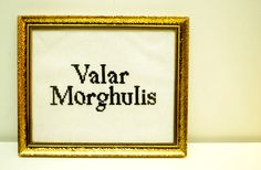 "Brodering. ""Valar Morghulis"" + gammel ramme.  Crosstitch in old frame.   #crosstitch #GOT #gameofthrones #DIY"