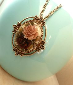 Violet Rose Pendant - Antique Victorian Style Necklace by BaubleSea
