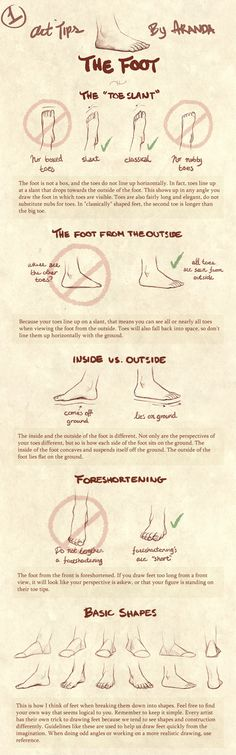 Art Tips - The Foot by ArandaDill --Foreshortening is my weakest point, I need to practice on it.