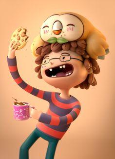 ArtStation - Pokemon Fanart - Rowlet likes cookies, Alexandre Collonge