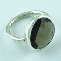925 STERLING SILVER NATURAL SMOKY QUARTZ RING JEWELRY S.7 US R2082 #SilvexImagesIndiaPvtLtd #Statement