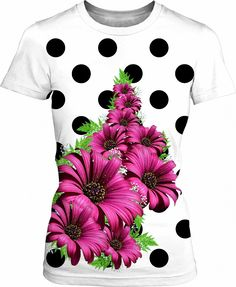 3D Printed T-Shirts Daisy Flower with Green Leaves Closeup Realistic Short Sleeve Tops Tees