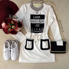 Vestido LOVE DOUCEUR  no Moleton c/ Manga Longa(  COR OFF WHITE)