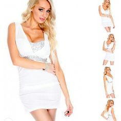 WHITE AND SILVER SEQUIN DRESS Product Details  Stand out in this sexy sequin party dress it features; sequins top detailing, sheer overlay, sleeveless, light padded, ruched sides, and fitted. 100% Polyester. ✈ Dresses Mini
