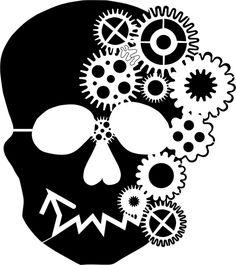 Eigenmarke Stencil Schablone  Zahnrad Skull
