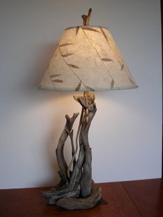 driftwood Table Lamp~ I like the lamp shade with the driftwood ~  by woodswise @ Etsy