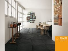 Floor #Terra. An essential room is given warmth by a variety of unexpected shades of #Antracite.