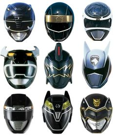 Black Rangers Helmets - MMPR onwards