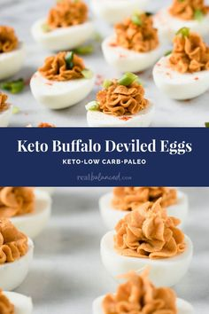 These Keto Buffalo Deviled Eggs are perfect for keto, paleo, Whole30, and nut-free diets! This simple recipe requires just 10 minutes to prepare and are full of delicious buffalo flavor. If you are looking for an easy appetizer to bring to a family gathering, game-day tailgate party, or Easter lunch, you will love this simple low carb recipe! #realbalancedblog #lowcarbappetizer #lowcarbrecipe #ketoappetizer Low Carb Appetizers, Appetizer Recipes, Snack Recipes, Keto Snacks, Drink Recipes, Dessert Recipes, Easter Lunch, Low Carb Side Dishes, Deviled Eggs Recipe