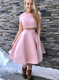 Discount Beautiful Prom Dresses Two Piece, Homecoming Dress Pink, Prom Dresses Short Two Piece Homecoming Dress, Prom Dresses Two Piece, Dresses Short, Knee Length Dresses, Casual Dresses, Dresses With Sleeves, Short Sleeves, Homecoming Dresses Knee Length, Party Dresses